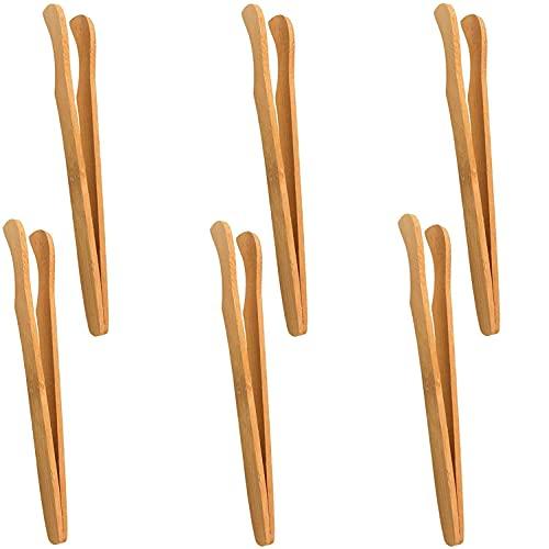 Pince à Toasts,6 PCS Pince à Pain Grillé Pinces en Bambou pour Cuisson Toasts Pain des Cornichons Thé Aliments Retournement de Viande Cuisine Barbecue