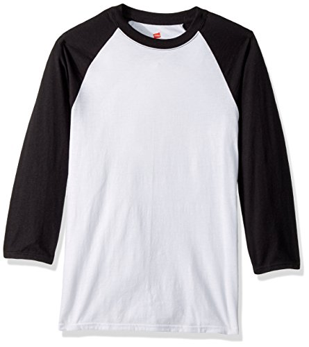 Hanes Men's X-Temp Raglan Baseball Tee, White/Black, Large