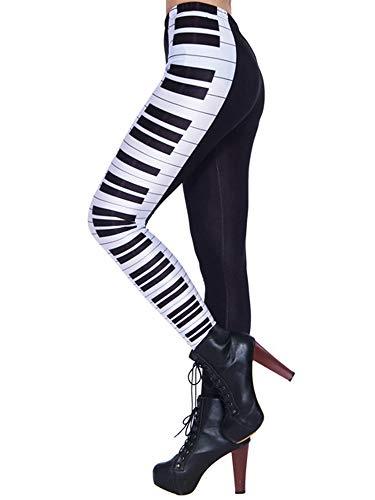 Nuofengkudu Mujer Estampados Leggins Largos Elasticos Cintura Alta Lisos Mallas Deporte Colores Hippie Transpirable Push up Yoga Pantalones (Negro Piano,Talla única)