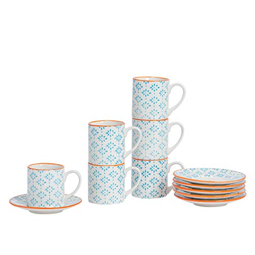 Nicola Spring Gemustertes Espresso Tasse und Untertasse Set - 65 ml - Blau/Orange Aufdruck - 6er Packung