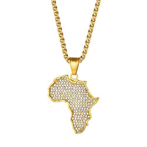 Collar Mundo para Mujer,Collares Pendientes De Diamantes De Imitación De Mapa De África De Acero Inoxidable Dorado con Cadena Dorada Regalo De Joyería De Amistad para Mujeres Hombres, Longitud: 50 Cm