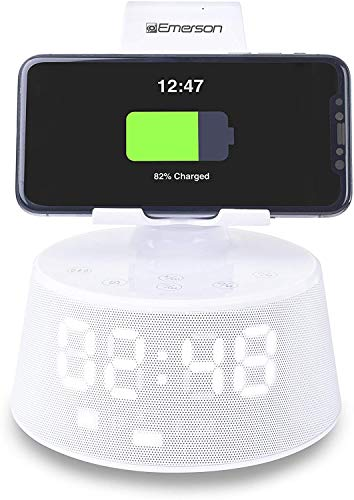Emerson Radio ER-X300 Docking Station with Wireless Charging, Bluetooth Speaker, Hands-Free Calling and Adjustable Arm