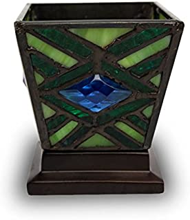 Mission Style Stained Glass Cremation Keepsake for Sharing Ashes - Extra Small Holds 1 Cubic Inch of Ashes - Green Remembrance Memorial Candle for Ashes - Engraving Sold Separately