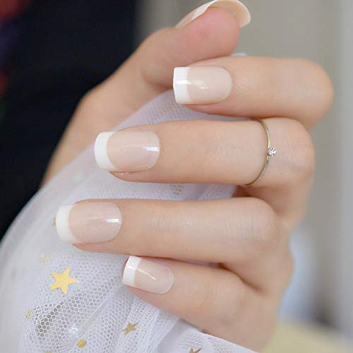 Super Real French Natural Classic Nails White Tip False Nails Adhesive With Office Lady Must DIY Manucure Tips