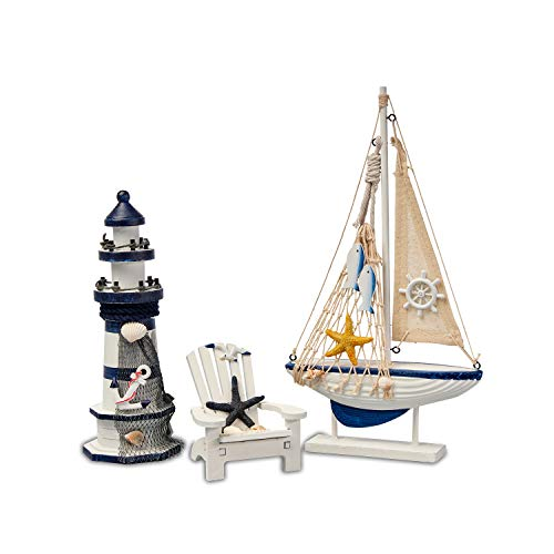 Flanacom Badezimmer Deko - 3er Set - Maritime Badezimmer Deko - Leuchtturm, Segel-Schiff und Strand-Stuhl aus Holz - Badaccessoires - Schöne Deko für das Bad - Design 3