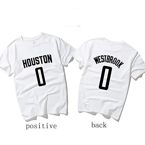 Russell Westbrook 0 Houston Rockets Basketball Trikot, Fans Exklusive Limited Edition, Startmodelle, Fans müssen zurück, Erwachsene Männer und Frauen Jugendliche, Baumwoll-T-Shirt-White-XXL
