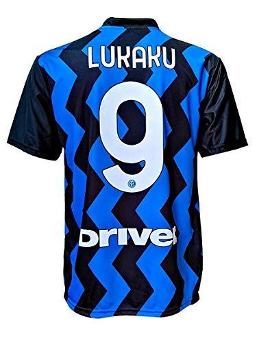 L.C. SPORT Camiseta del Inter Romelu Lukaku 9, réplica autorizada 2020-2021, para niño (tallas 2, 4, 6, 8, 10, 12), adulto (S, M, L, XL) (10/11 años)