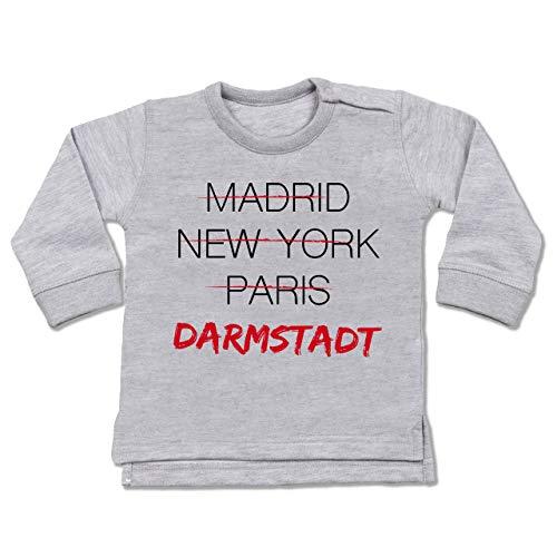 Städte & Länder Baby - Weltstadt-Darmstadt - 6/12 Monate - Grau meliert - Typo-Grafie - BZ31 - Baby Pullover