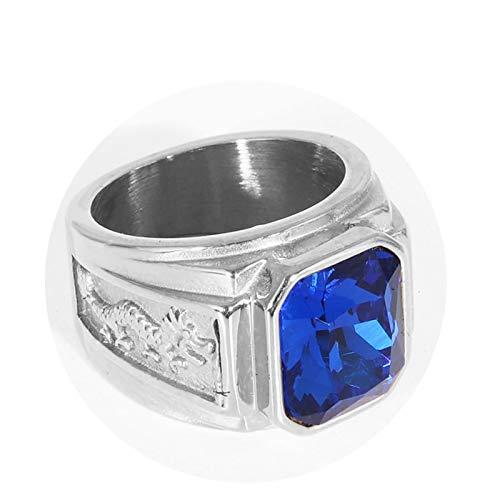 Daesar Anillos Goticos Dragón con Circonita Azul Anillo de Hombre Acero Inoxidable Plata Azul Anillos Talla 22