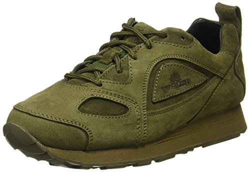 Woodland Men's Olive Green Leather Sneakers -10 UK (44 EU) (G 777WS)
