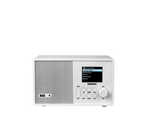 MEDION E85040 Internetradio mit Fernbedienung (2,4 Zoll TFT Farb-Display, 40 Speicherplätze, Holzgehäuse, USB) Weiß