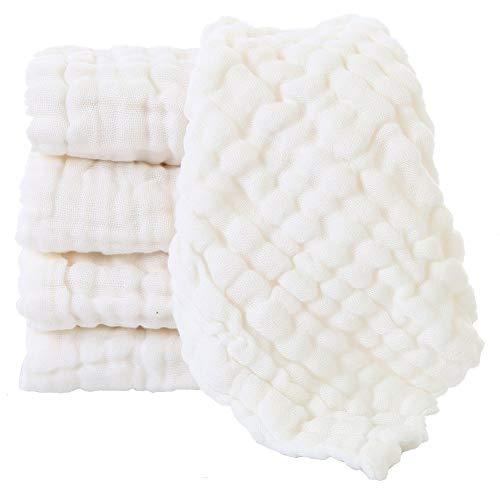 LIUNIAN 5 PACKS Toallitas para bebé de muselina, Toallitas de algodón 100% naturales para bebés, Extra suave y transpirable Toalla de cara para bebé recién nacido Para pieles sensibles, 12''x12 ''.