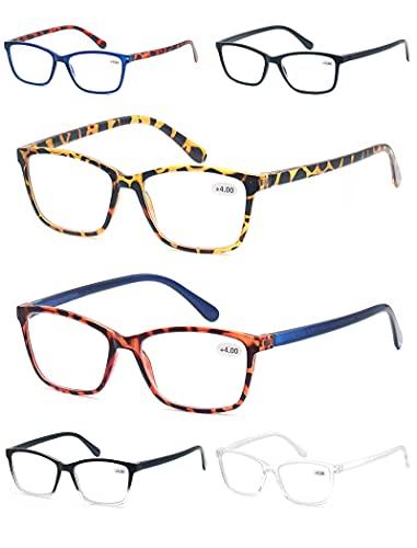 CAWINT Confezione da 6 Occhiali da Lettura Uomo Donna,Montatura Rettangolo,Peso Leggero Confortevole per L'uso Quotidiano 6 Colori Misti