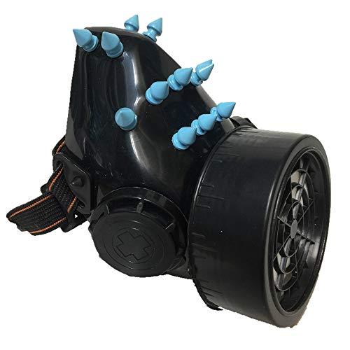 Black Sugar Maske, Sturmhaube, für Abendveranstaltungen, Cosplay, Gas, Punk, Gothic, Cyber Steampunk, Nieten, bunt, Unisex, Befestigung für Erwachsene, Jugendliche Gr. One Size, Blau A.