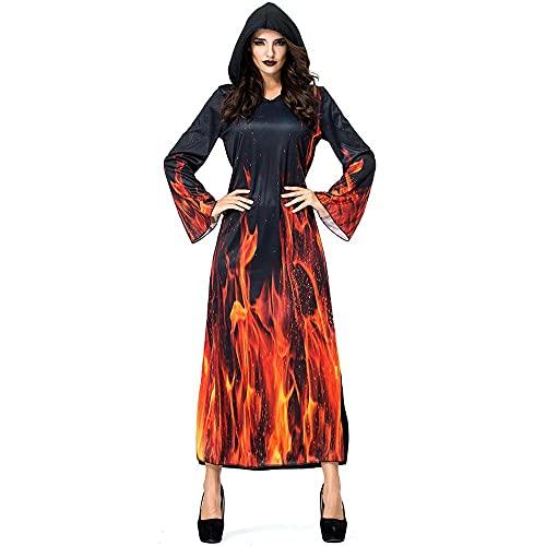 Uteruik Disfraz de bruja para cosplay con capucha, estampado de llama, disfraz de Halloween y Navidad, disfraz para mujer (L)