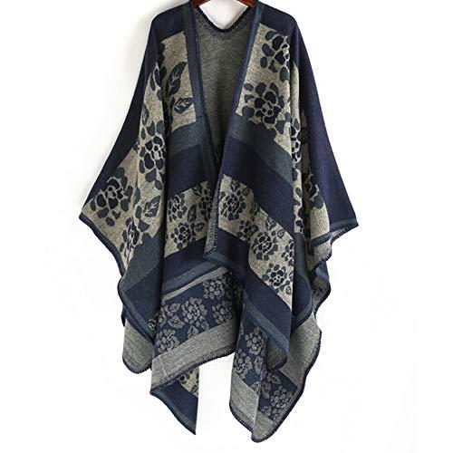 Makalon Mode-Frauen-Decke übergroßer Tartan-Mantel-Verpackungs-Plaid-gemütlicher Schal,Winter-Elegante Reversible Decke der Frauen Poncho Cape Schal Strickjacken