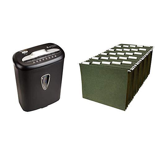 AmazonBasics 8-Sheet Capacity, Cross-Cut Paper and Credit Card Shredder, 4.1 Gallon & Hanging Organizer File Folders - Letter Size, Green - Pack of 25
