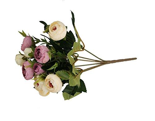 GMMH Ranunculus Bund 29 cm Seidenblumen Kunstblumen 9 Blüten Blumenstrauß Rosen Pfingstrosen (weiß-dunkelrosa)