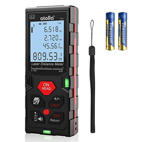 Télémètre Laser Numérique 60M, atolla Metre Laser avec 2 Niveaux à Bulle et Fonction Muet, Auto-étalonnage et Mesure Continue, écran LCD rétroéclairé à 4 lignes, IP54