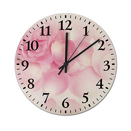 DKISEE Silent Wooden Wall Clock Garden Roses Decorative Simple Round C