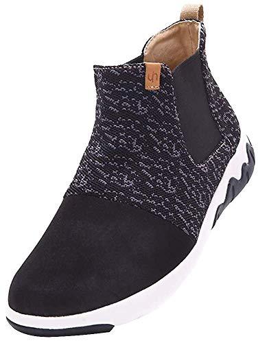 UIN Herren Stricken High Top Fashion Sneaker Mikrofaser Walking Travel Schuhe Dr. Ken Schwarz(42)