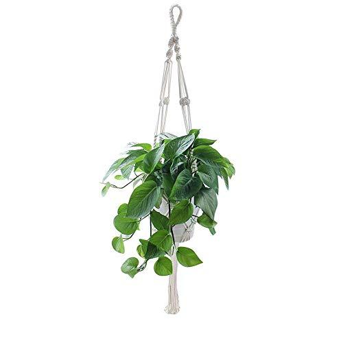 Macrame Plant Hanger, Natuurlijke Katoen Keukenpot Houder Hangende Touw Mand, Home Decoratie voor Balkon Plafond Supplies, 4 Benen, 105 Cm