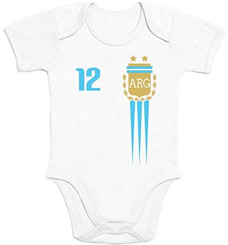 Shirtgeil Maglia x Bimbi Fan del Calcio-Mondiali Argentina Body Neonato Manica Corta 6-12 Mesi Bianco