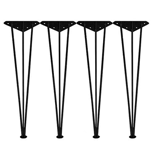 uyoyous 4x Haarnadel Tischbeine Schwarz Möbelbeine Hairpin Leg aus Metall Tischgestell Tischbeine Haarnadel 73CM für Esstisch Bürotisch Bartisch Schreibtisch und Arbeitstisch