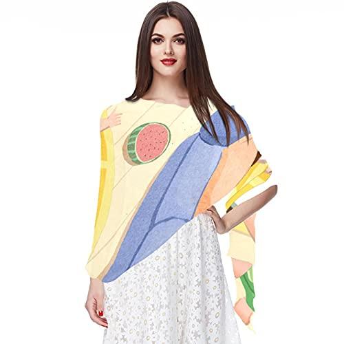 WJJSXKA Bufandas para mujer Bufandas ligeras de moda Estampado floral Bufanda Chal Wraps, sofá de dormir familiar de verano