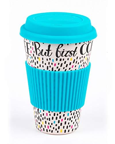 Cambridge CM05634 But First Coffee Bamboo Eco Travel Mug, Blue
