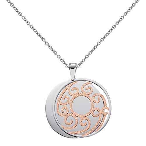 Perlkönig | Damen Frauen | Kette mit Anhänger | Silber Gold | Rund mit Amulett | Glitzer Steine | Nickelabgabefrei