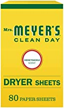 Mrs. Meyer's Clean Day Dryer Sheets, Fabric Softener, Reduces Static, Cruelty Free Formula Infused with Essential Oils, Honeysuckle Scent, 80 Count