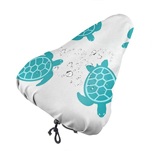 Bike Seat Cover Turtle Turquoise Waterproof Bicycle Seat Rain Cover with Drawstring, Sun/Water/Dust Resistant Bike Saddle Cushion Cover Protector Shield for Women/Men/Unisex