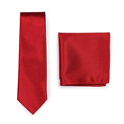 Krawatte mit Einstecktuch, einfarbiges Krawatten-Set, Tuch und Herrenkrawatte (Rot)