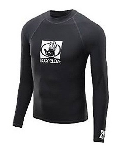 Body Glove Mens Basic Rash Vest Guard met lange mouwen Zwart