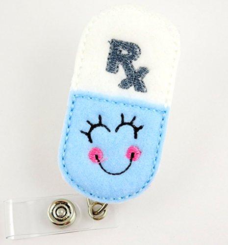 Smiley RX Pharmacist Pill Blue - Nurse Badge Reel - Retractable ID Badge Holder - Nurse Badge - Badge Clip - Badge Reels - Pediatric - RN - Name Badge Holder