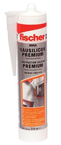 fischer Bausilicon DBSA, geruchsarmes Premium Silikon, wetterfeste Dichtmasse für Innen- & Außenbereich, Kartusche für zahlreiche Anwendungen und Baustoffe, 310 ml, weiß