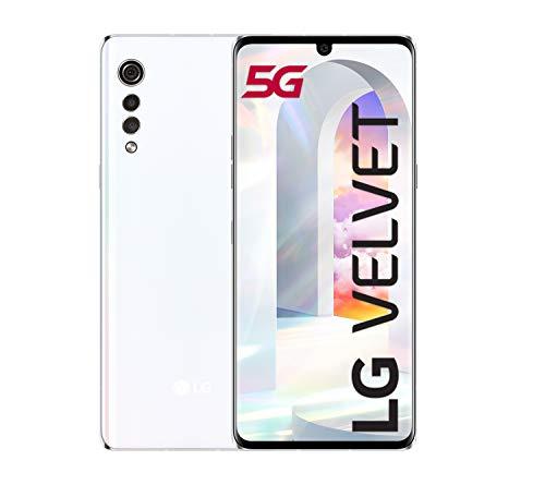 LG Velvet Smartphone 5G con vetro ricurvo, Display OLED 6.8'', Sensore 48MP, Batteria 4300mAh con ricarica Wireless, IP68, 128GB/6GB, Android 10, Bianco (Aurora White) [Italia]
