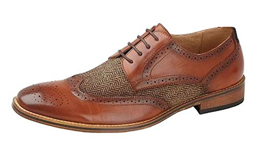 Goor Childs Boys Shoes 4 Eye Brogue Gibson Shoe - Tan, Junior Kids UK 5.5 / EU 37.5