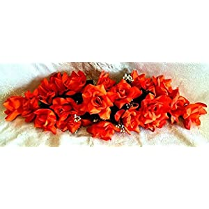Floral Décor Supplies for 2 ft Artificial Roses Swag Silk Flowers Wedding Arch Table Runner Centerpiece for DIY Flower Arrangement Decorations – Color is Orange