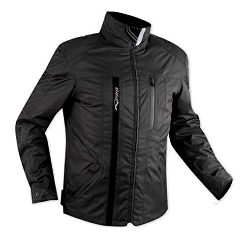 A-pro Chaqueta para motocicleta de tejido impermeable CE y protectores de forro térmico, negro, XL