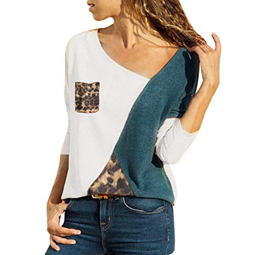 MRULIC Damen Kurzarm T-Shirt Rundhals Ausschnitt Lose Hemd Pullover Sweatshirt Oberteil Tops(B-Weiß,EU-42/CN-XL)