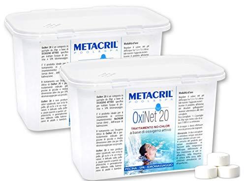 Metacril OXI Net 20 kg.1,2 x 2 pz. - Ossigeno Attivo in pastiglie da 20gr- Ideale per Piscina o Idromassaggio (Teuco,Jacuzzi,Dimhora,Intex,Bestway,ECC.) Spedizione IMMEDIATA