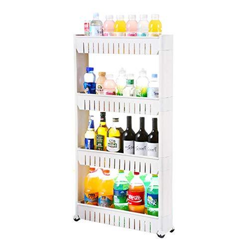 Portable cart - GR / 3/4-Tier Kunststoff-Mehrzweckwagen Standwagen mit Rädern for die Aufbewahrung zu Hause (Color : White, Size : 4 Tier)