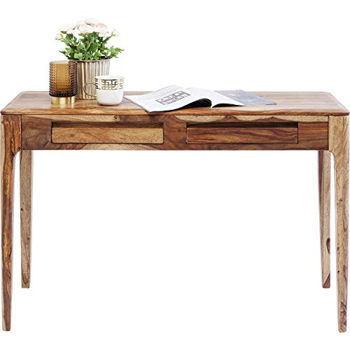Kare Design Laptop Schreibtisch Brooklyn Nature, Computertisch mit 2 Schubladen, Konsolentisch, PC Bürotisch, Braun (H/B/T) 76x110x40cm