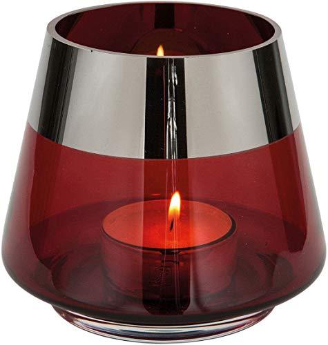 Fink - Jona - Teelichthalter - Windlicht - Rot - mit Platinrand - Glas - Mundgeblasen - Maße (ØxH): 15 x 13 cm