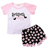 Toddler Baby Girl Outfits Clothes Baseball Sister Print Short Sleeve T-Shirt Tops + Tassel Floral Short Pant Set 2T
