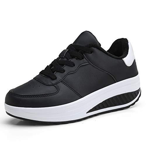 Zapatillas Deportivas Mujer Calzado Adelgazar y Elásticas Zapatos de Plataforma de Cuña de Fitness Zapatos Casuales Zapatillas de Andar Antideslizantes Portátiles Blanco Negro, 35 EU
