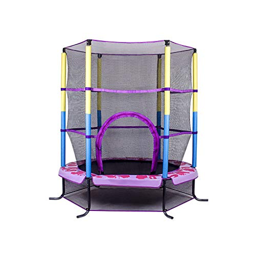 DNSJB Kinder-Trampolin mit Sicherheitsnetz und Deckel, rund, 140 cm (Farbe: Rosa)