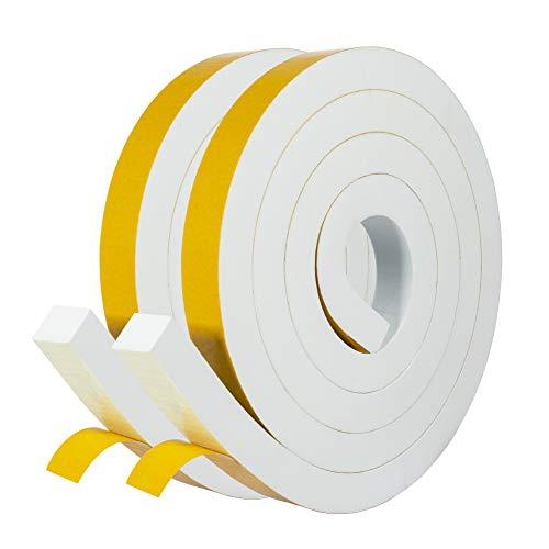 Schaumstoff Selbstklebend 25mm(B) x20mm(D) Dichtungsband Klebeband Weiß Fenster-Türdichtung kochheld, Moosgummi selbstklebend für Kollision Siegel Schalldämmung Gesamtlänge 4m (2 Rollen je 2m lang)